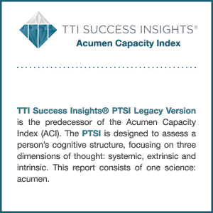 TTI Success Insights Acumen Capacity Index assessment information graphic