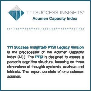 TTI Success Insights Acumen Capacity Index assessment information graphic